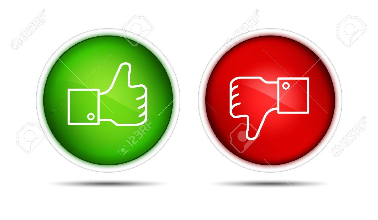 lIllustration of the thumb up and thumb down buttons Isolated on white - 12449121