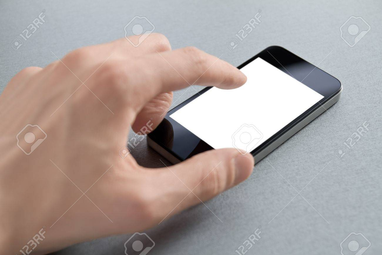 Hand touching mobile smart phone with blank screen  Isolated on white Stock Photo - 12750328