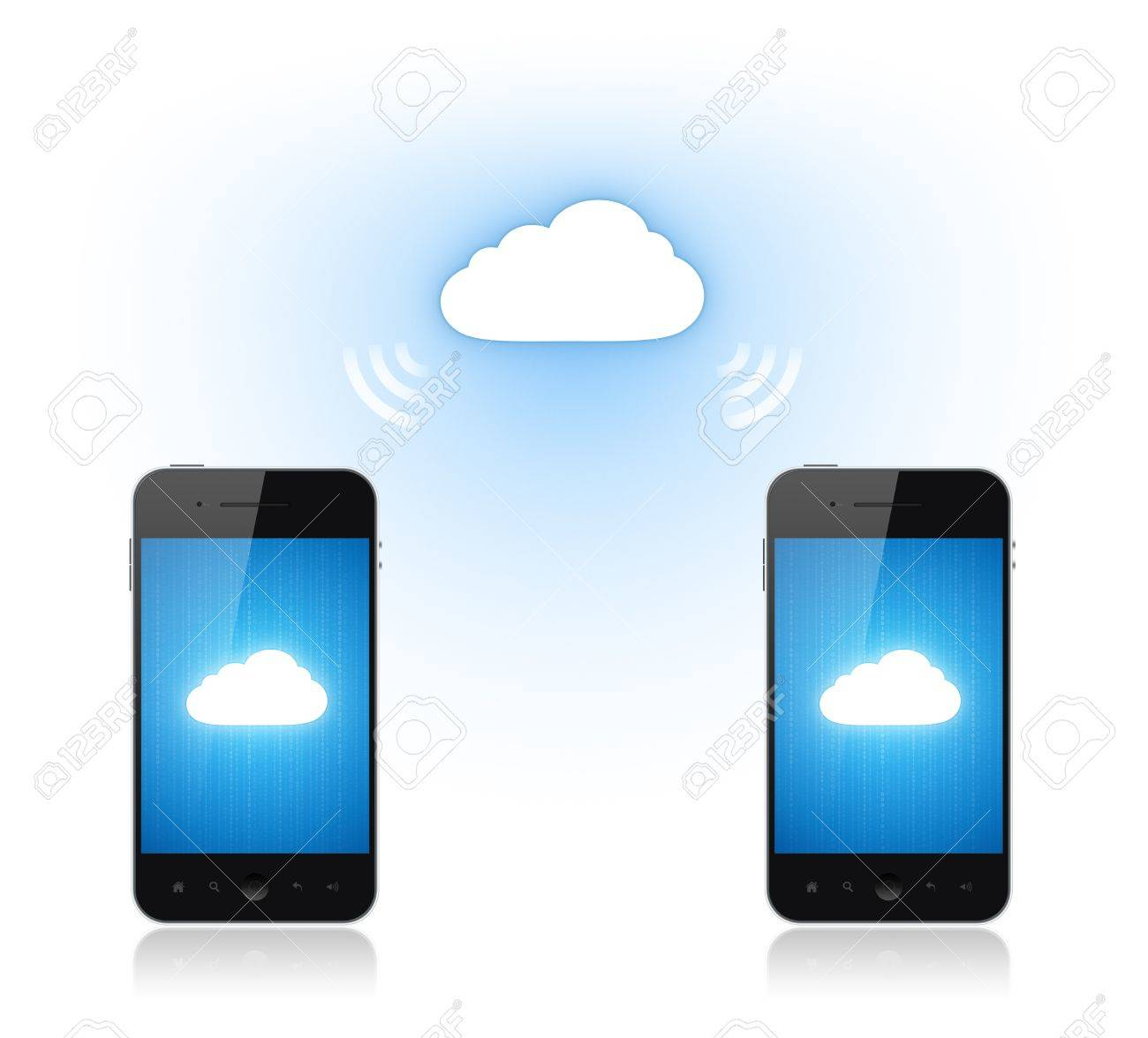 Communication between two mobile phone via cloud computing connection. Conceptual illustration. Isolated on white. Stock Illustration - 12750861