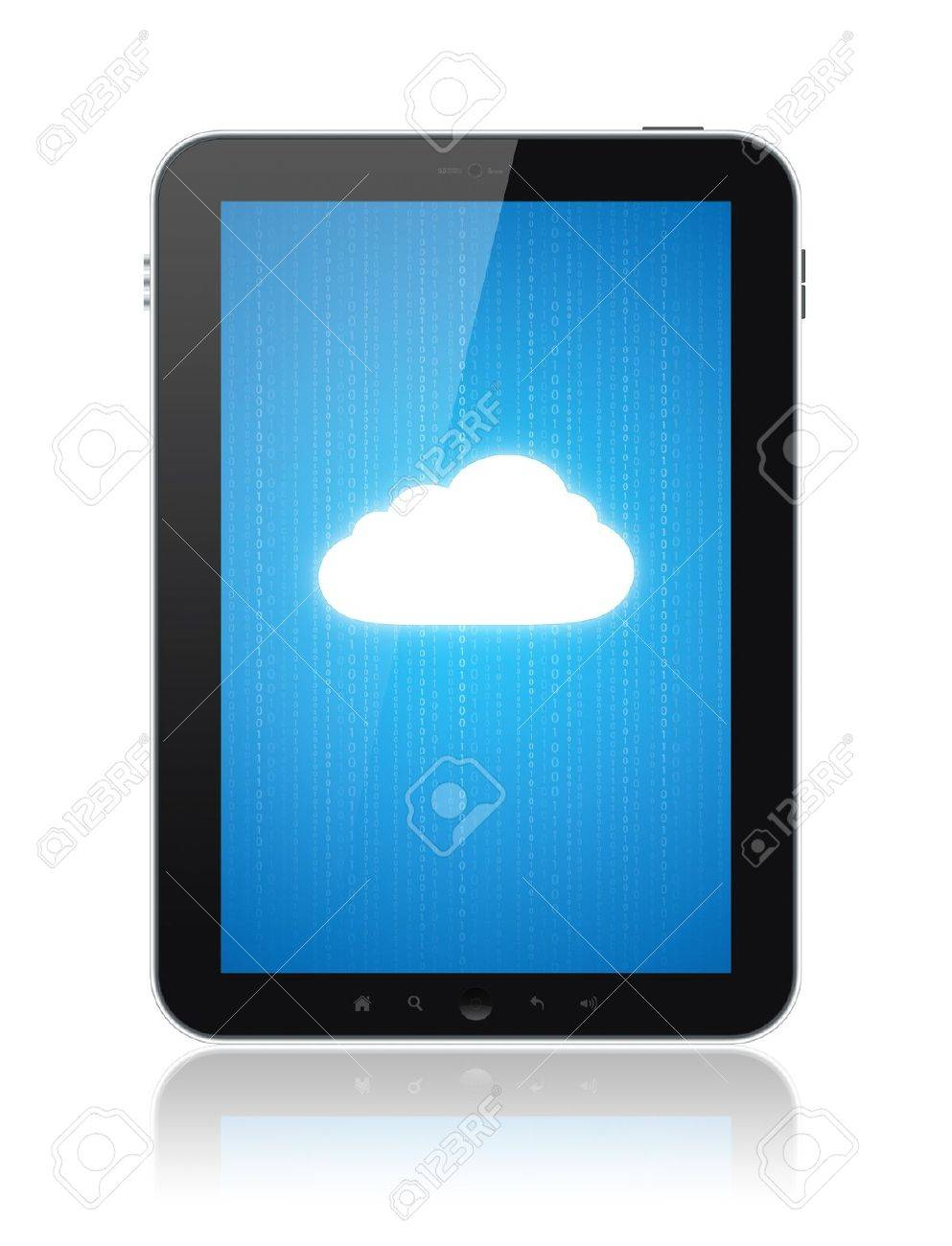 Cloud computing connection on digital tablet pc. Conceptual image. Isolated on white. Stock Photo - 12750890