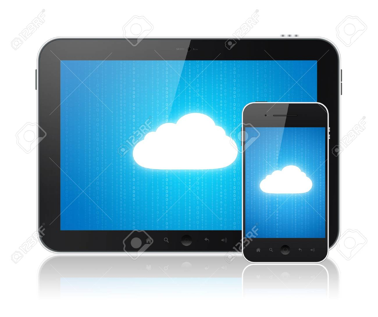 Cloud computing connection on digital tablet pc and modern smart phone. Conceptual image. Isolated on white. Stock Photo - 12750884