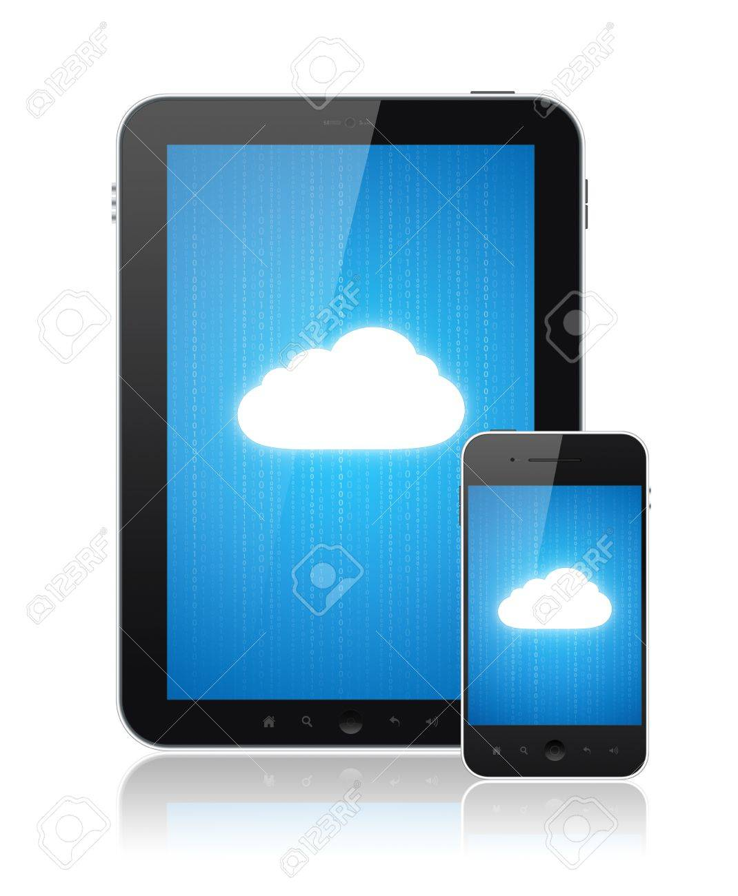 Cloud computing connection on digital tablet pc and modern smart phone. Conceptual image. Isolated on white. Stock Photo - 12750892