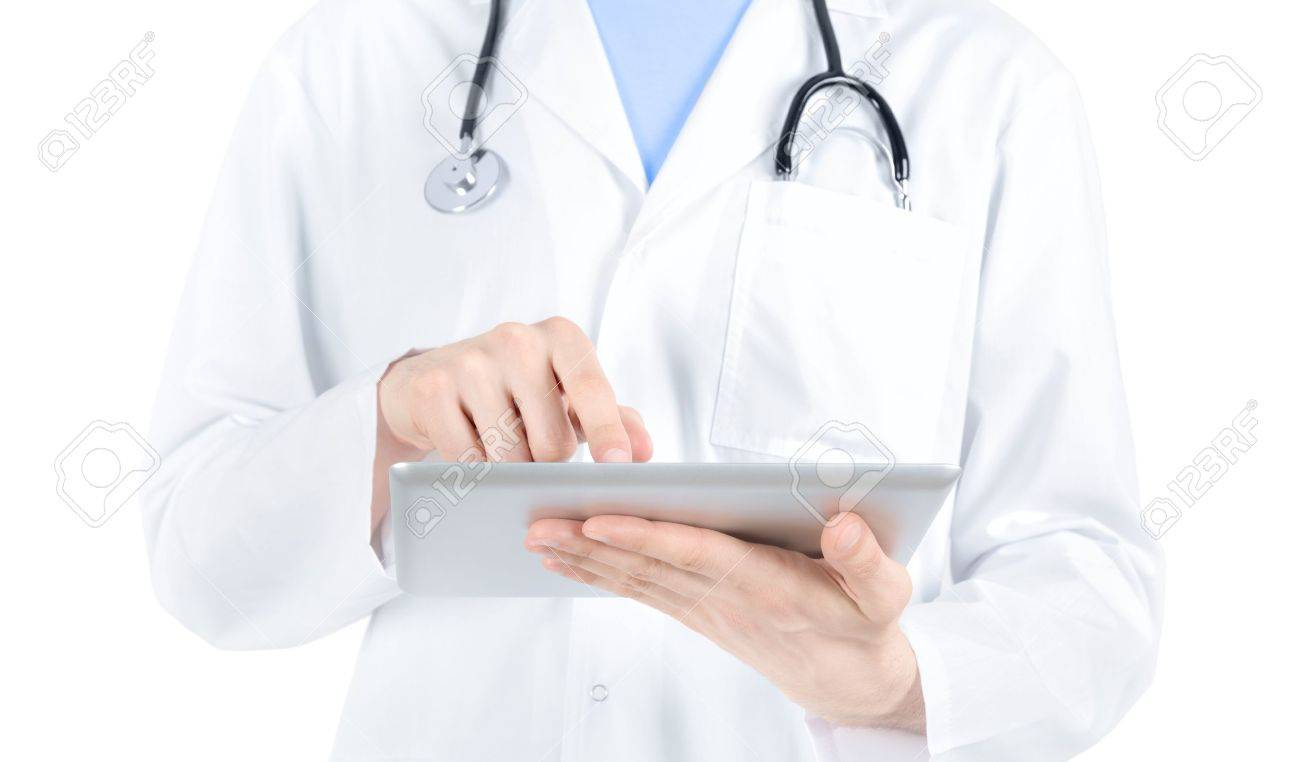 Doctor in white coat with stethoscope holding and touching on digital tablet pc  Isolated on white Stock Photo - 13059719
