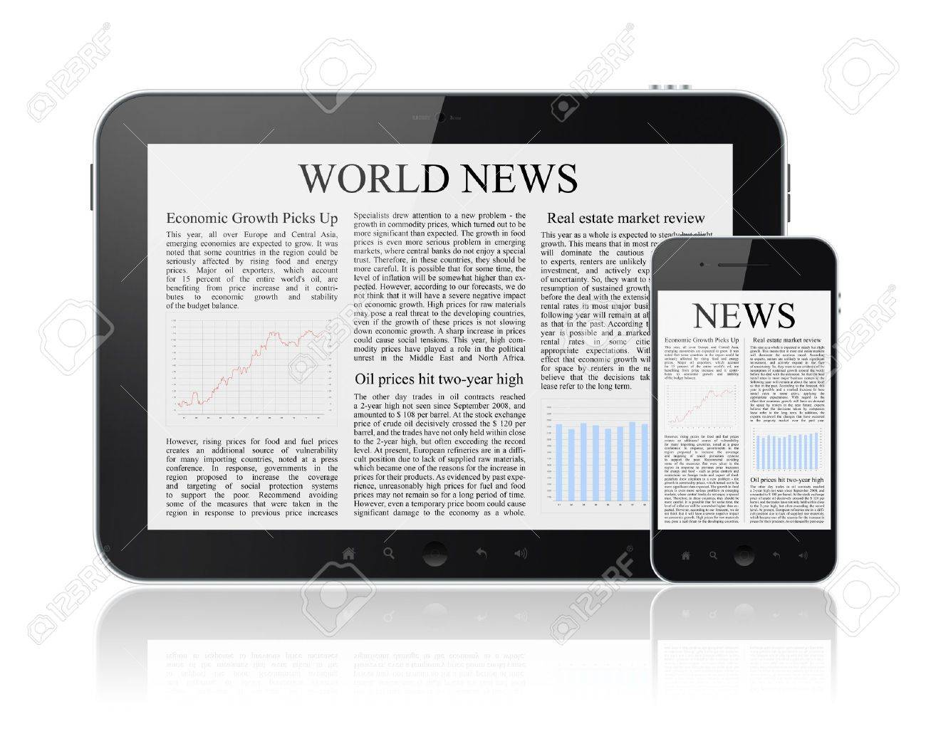 World news articles on modern digital tablet and mobile smart phone  Isolated on white Stock Photo - 13230150