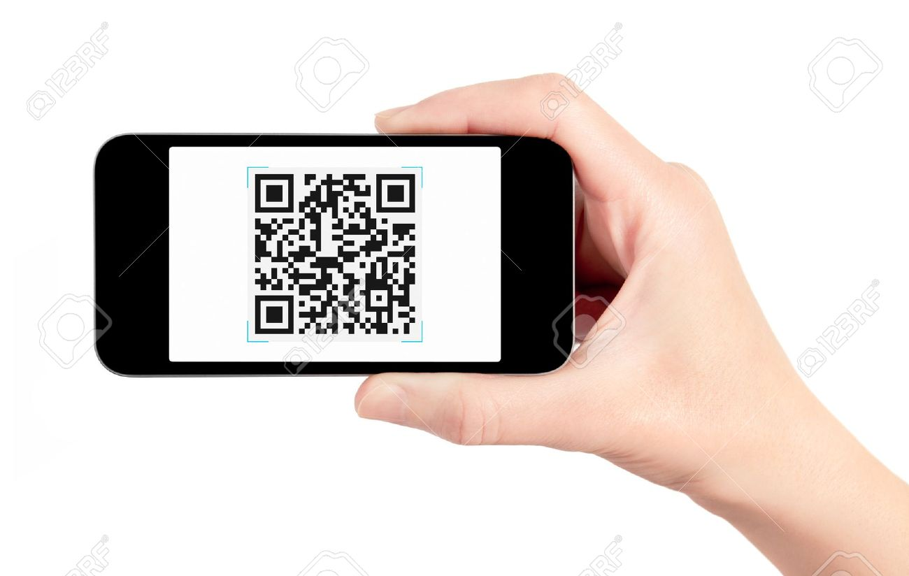 Hand holding mobile smart phone with QR code scanner on the screen. Isolated on white. Stock Photo - 13251617
