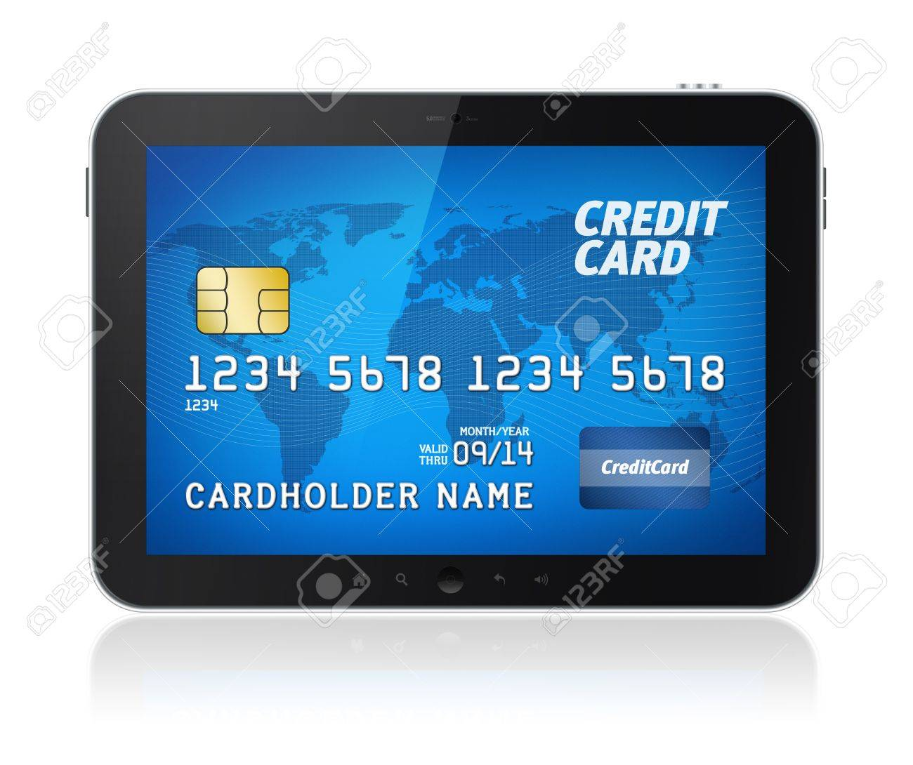 Digital tablet with credit card on screen  Electronic payments concept image  Isolated on white Stock Photo - 13955890
