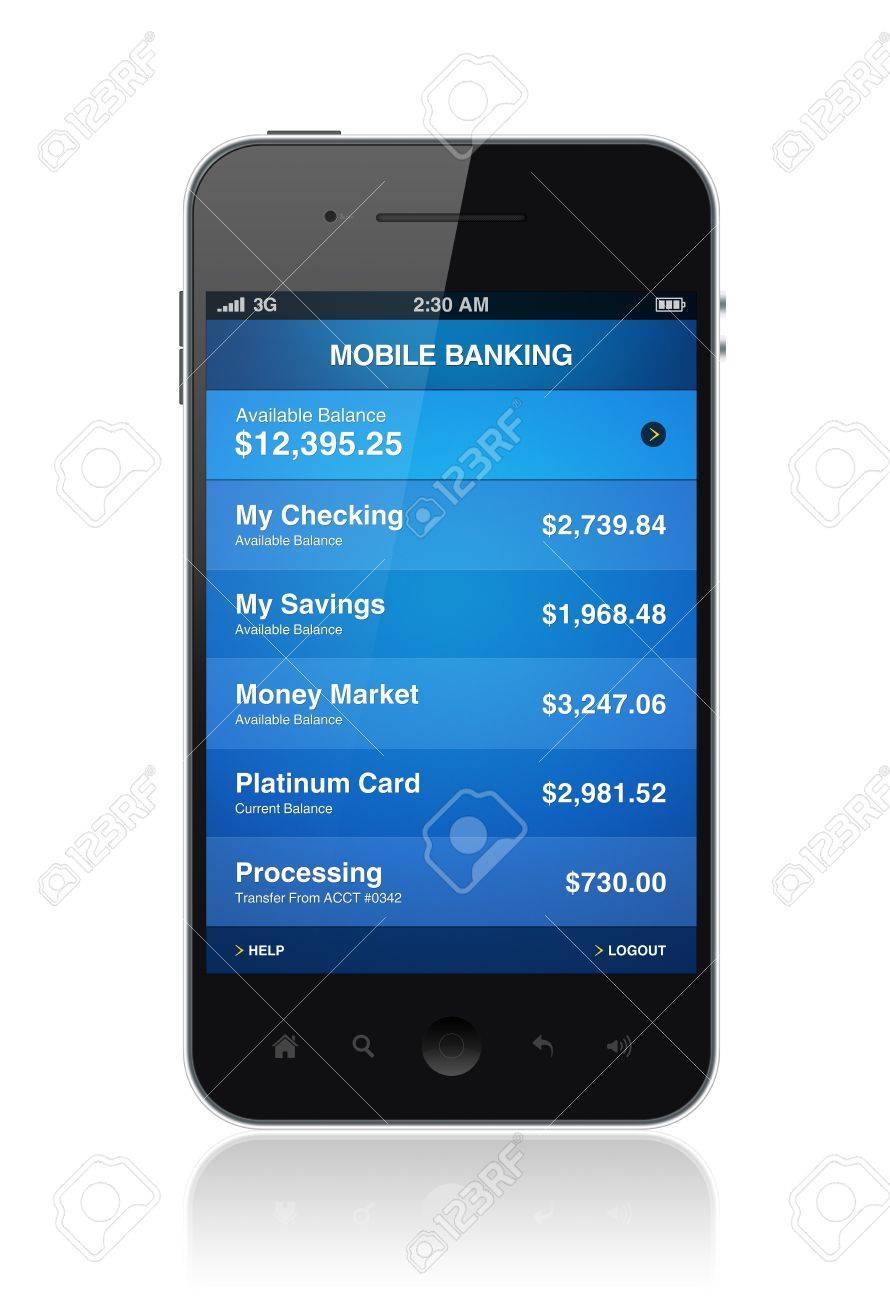 Modern smartphone with mobile electronic banking application on a screen Stock Photo - 14185745