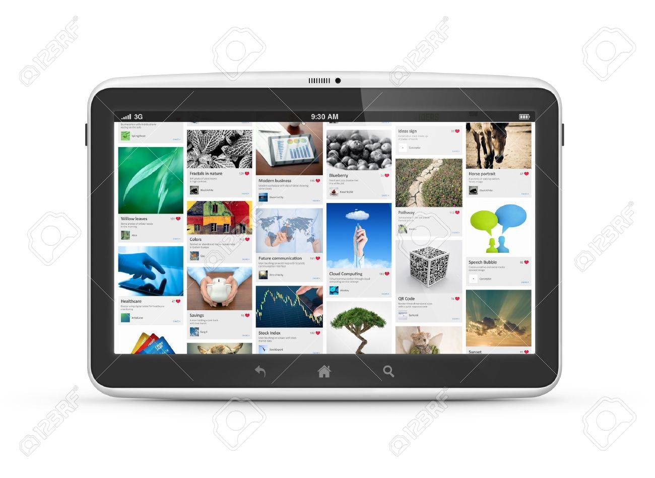Modern digital tablet computer with social media photostream interface isolated on white Stock Photo - 15262016