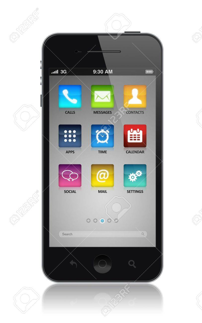 Modern smartphone with application icons on a screen  Isolated on white Stock Photo - 15647159