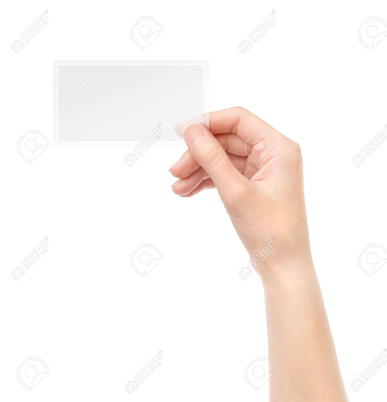 Female Hand Holding Blank Transparent Business Card In Isolated On White Stock Photo