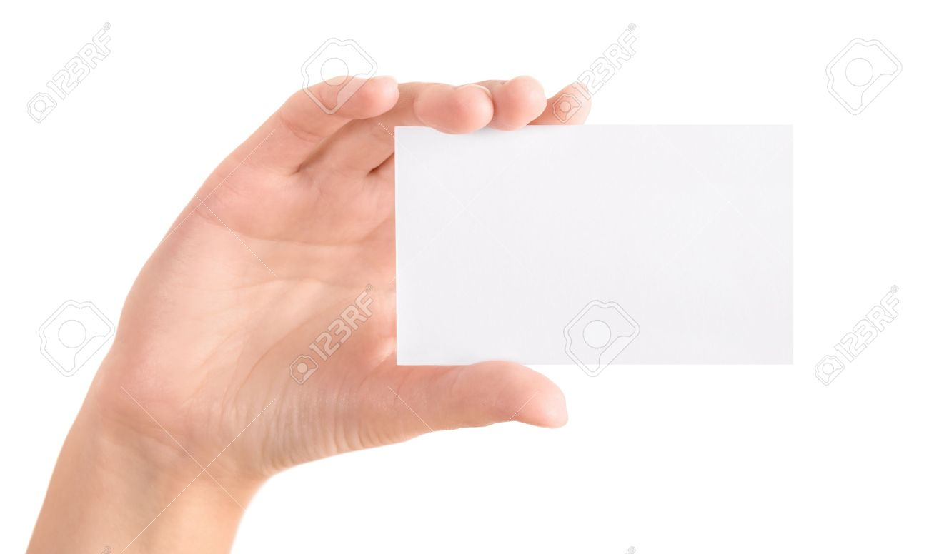 Woman Holding Blank Business Card In Hand Isolated On White Stock ...