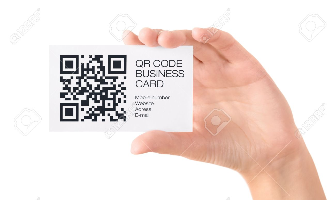 Hand showing business card with qr code information isolated stock hand showing business card with qr code information isolated on white stock photo 16062690 reheart Image collections
