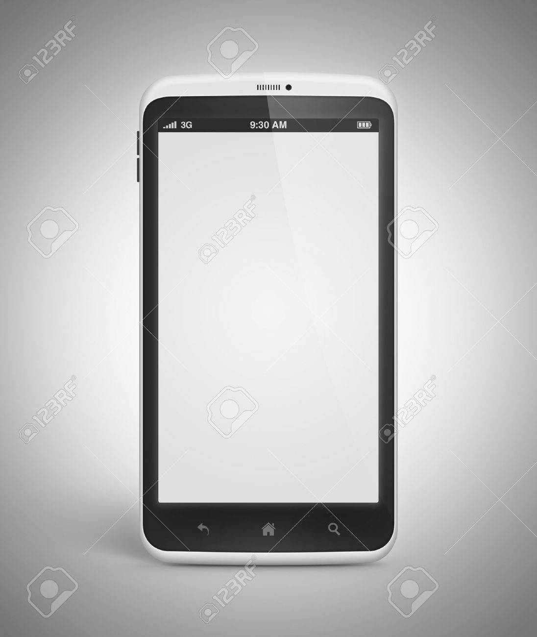 Modern mobile smartphone with blank screen isolated on gray background  Include clipping path for phone and screen Stock Photo - 16248331