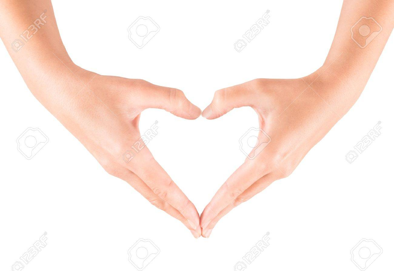 Female hand showing heart shape gesture  Isolated on white Stock Photo - 16555356