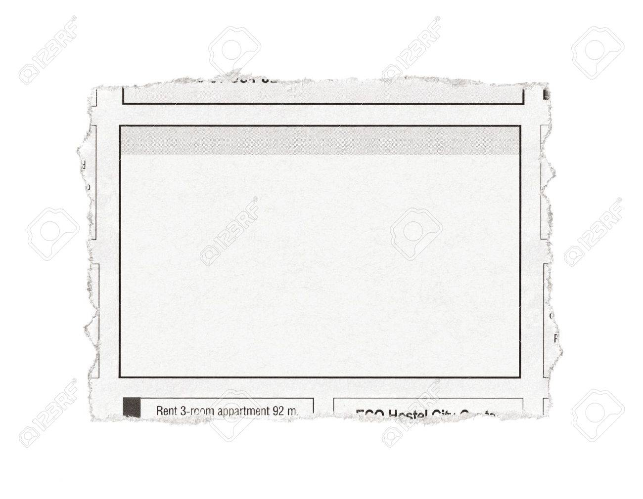 Piece of paper with advertisement space torn out from newspaper  Isolated on white Stock Photo - 16779883