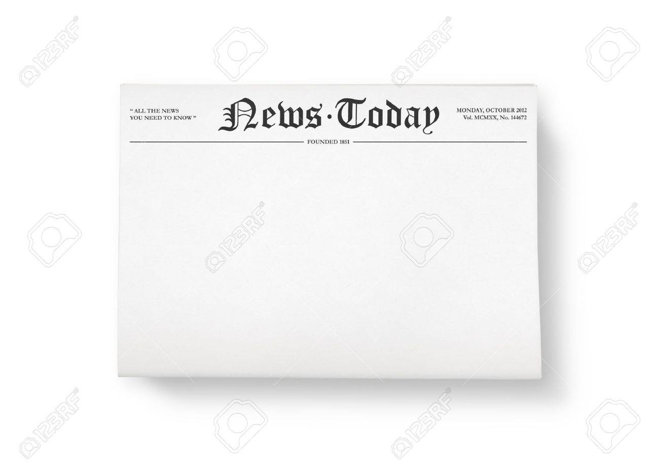 a stack of newspapers with headline news today and blank space