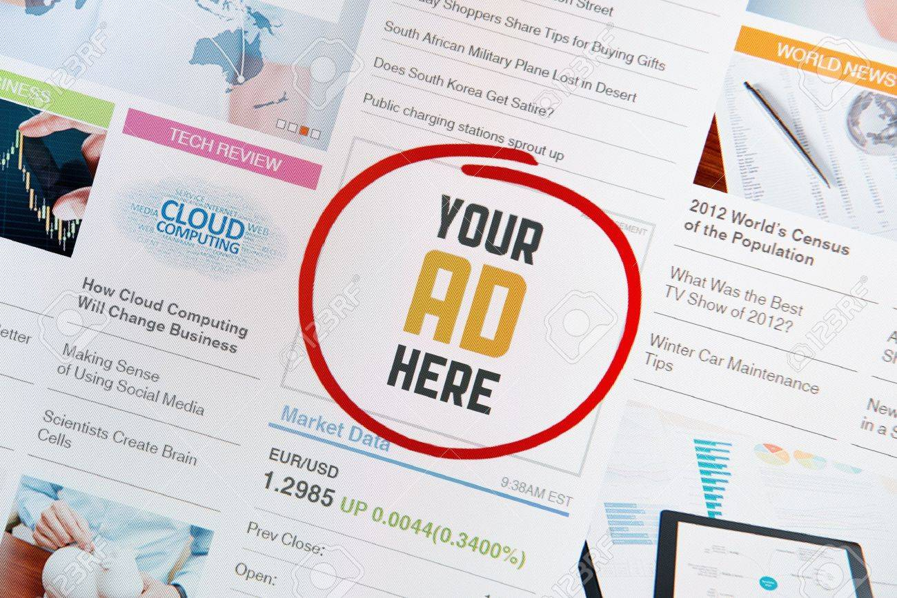 Online Internet Banner With Text YOUR AD HERE On A Web Page ...
