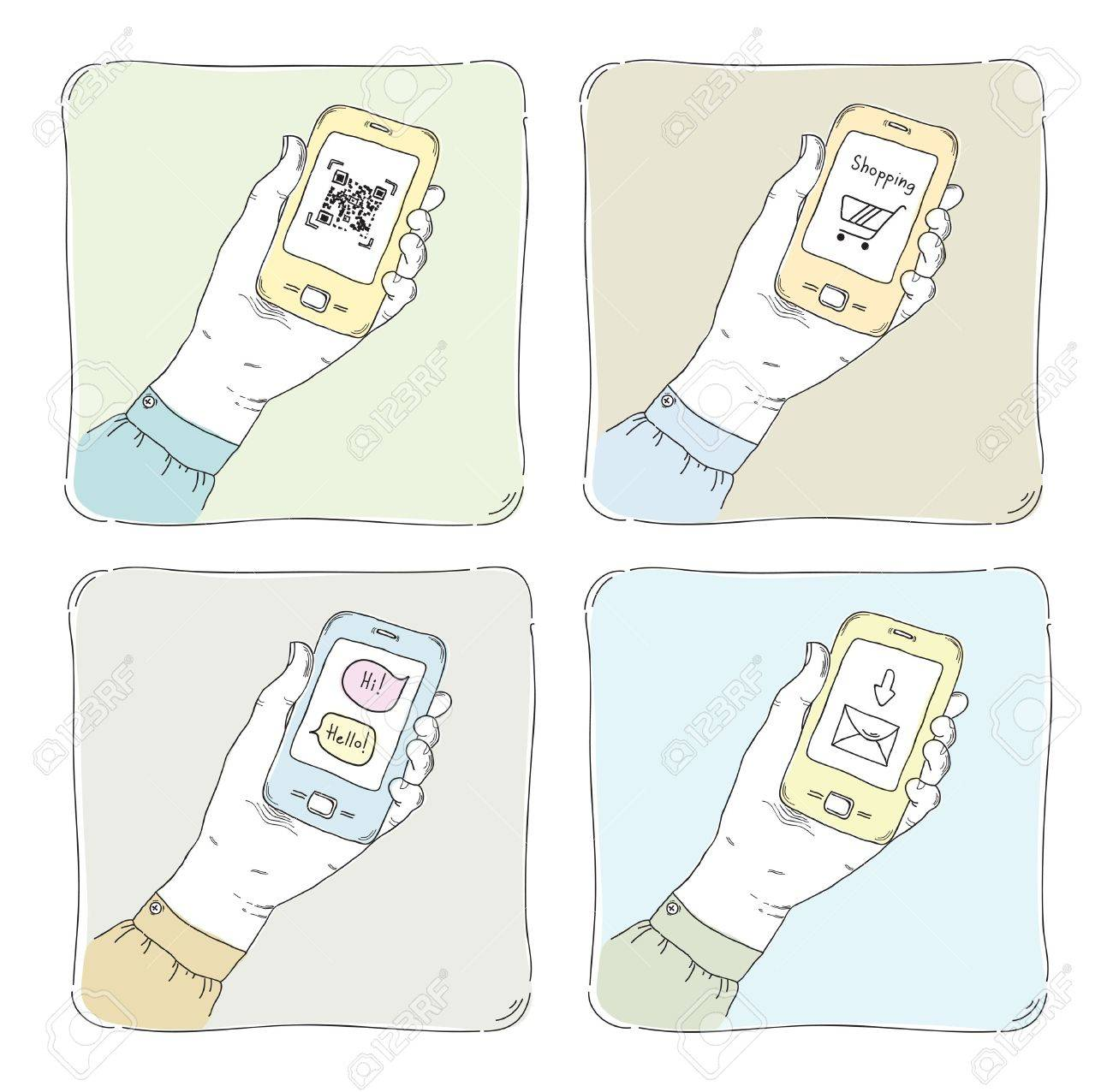 Drawn  illustrations of using smartphone in typical situation, QR code scanning, internet shopping, sending messages and mail communication  Isolated on white Stock Vector - 18793764