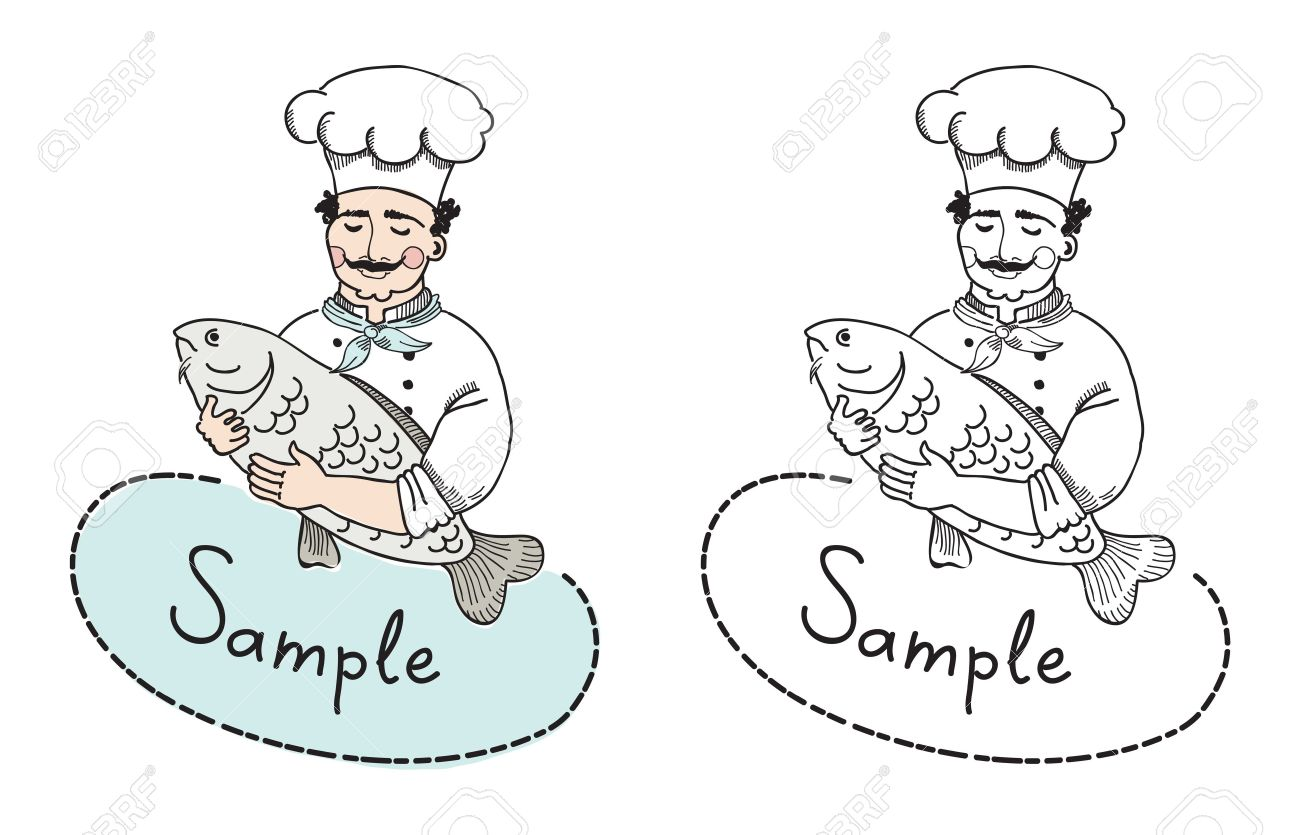 Vector illustration of chef with fish which can use as logo template  A sign board of a restaurant which welcomes potential clients to taste fish meals Stock Vector - 18932791