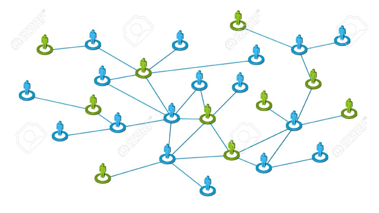 High quality 3d render concept of people internet communication or social network connections  Isolated on white background Stock Photo - 19152610