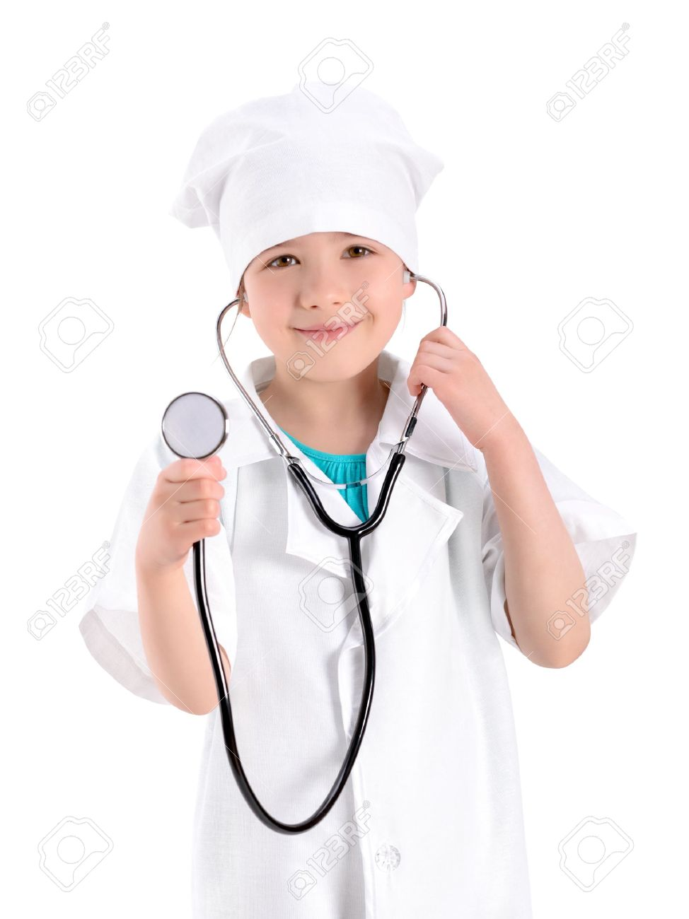96bad6381be Portrait of a smiling little girl wearing as a nurse on white..