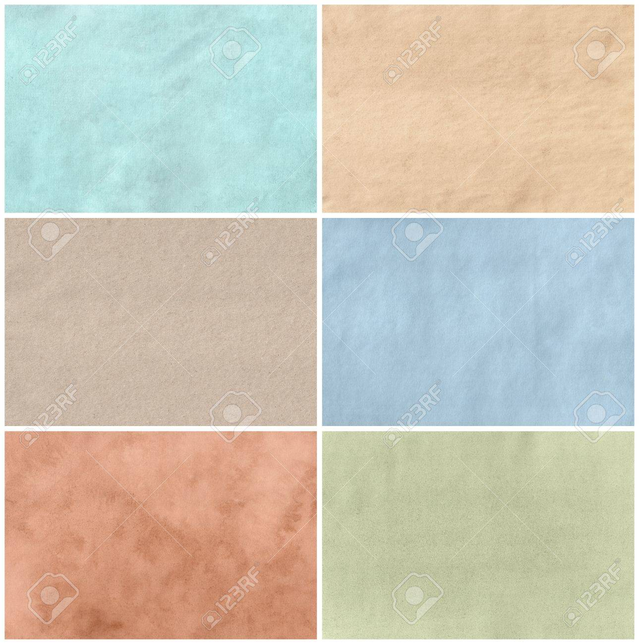 Set of six paper textures with different colors and surface materials  Isolated on white background Stock Photo - 19611280