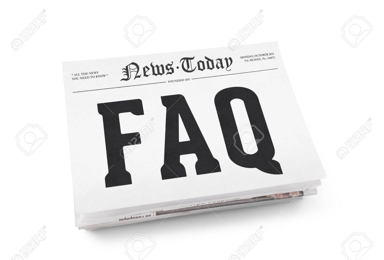 FAQ word writing on the front page of newspaper stack  Isolated on white background Stock Photo - 19937841