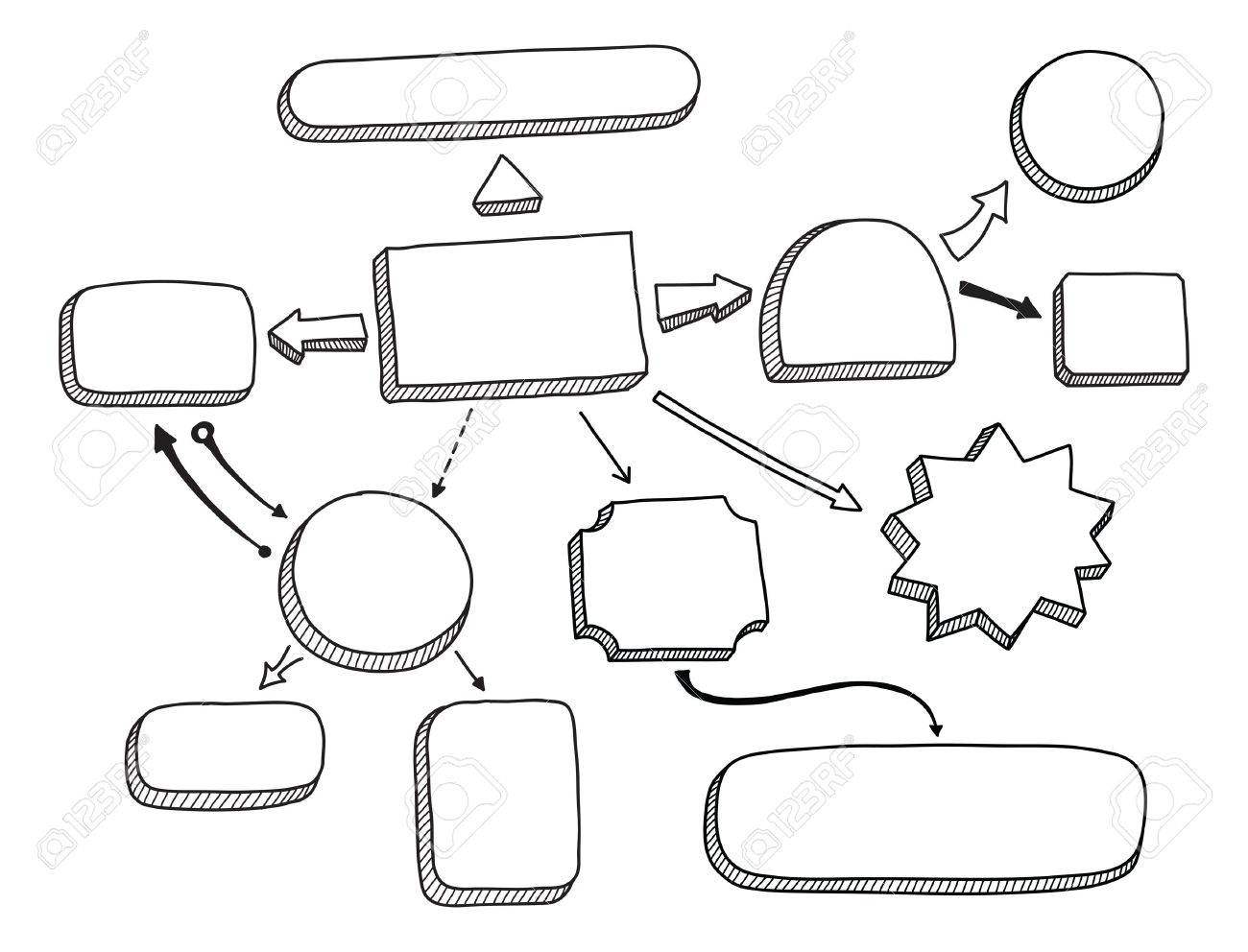 Hand drawn illustration of mind map or flowchart with space for hand drawn illustration of mind map or flowchart with space for your text isolated on white nvjuhfo Images