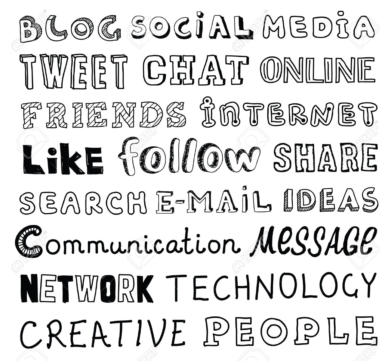 Collection Of Hand Drawn Words On The Social Media And Communication Theme Written In Different Style