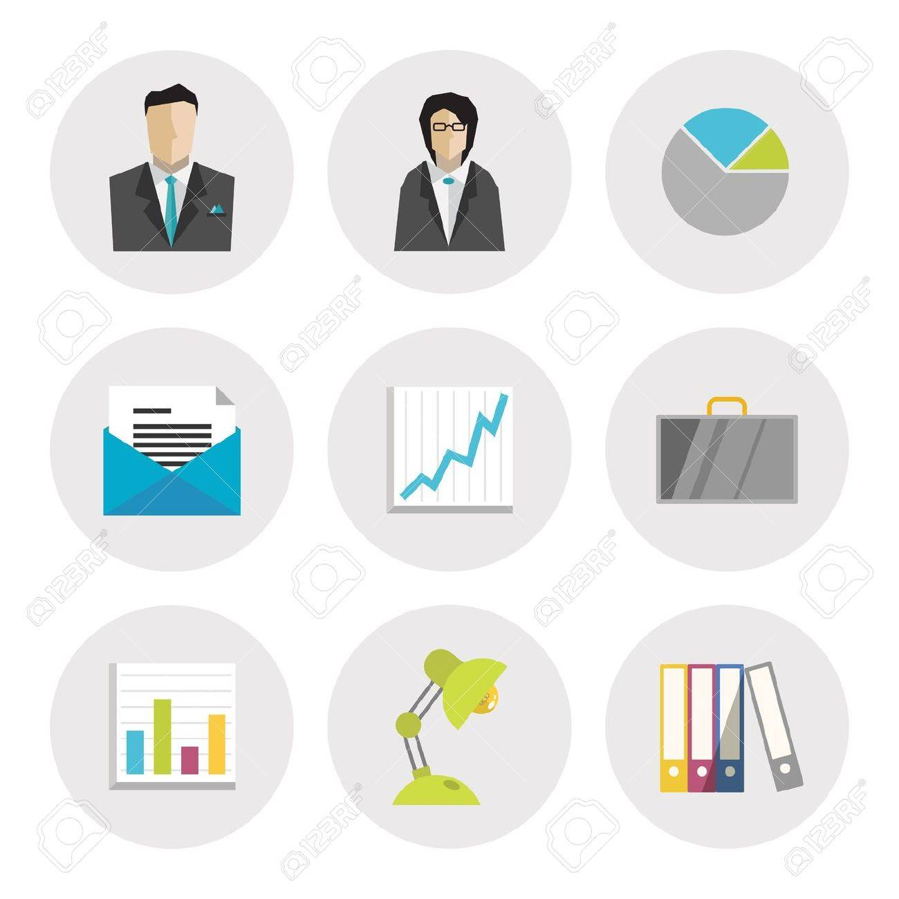 Vector Icons Set Of Business Objects In Modern Flat Design ...