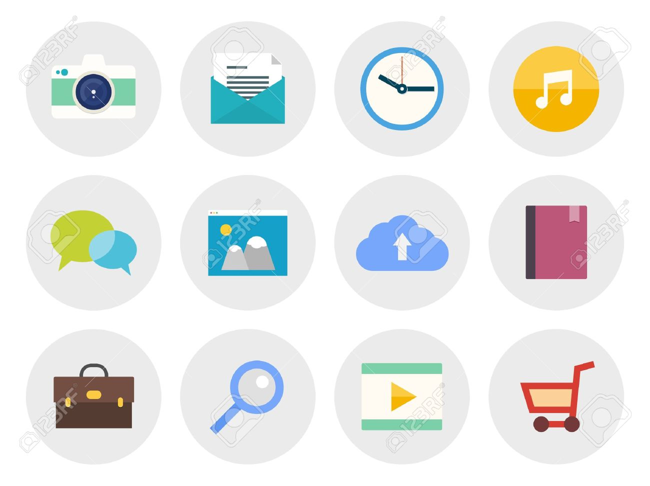 Vector collection of modern icons in flat design on various theme  Isolated in gray circle on white background Stock Vector - 20856973