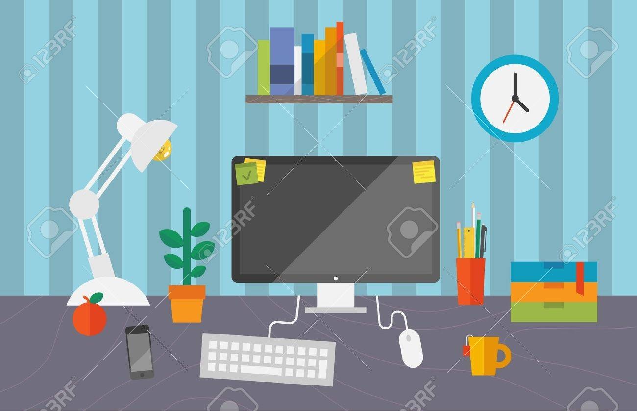 Vector illustration of routine organization of business workspace in the office Stock Vector - 20849766