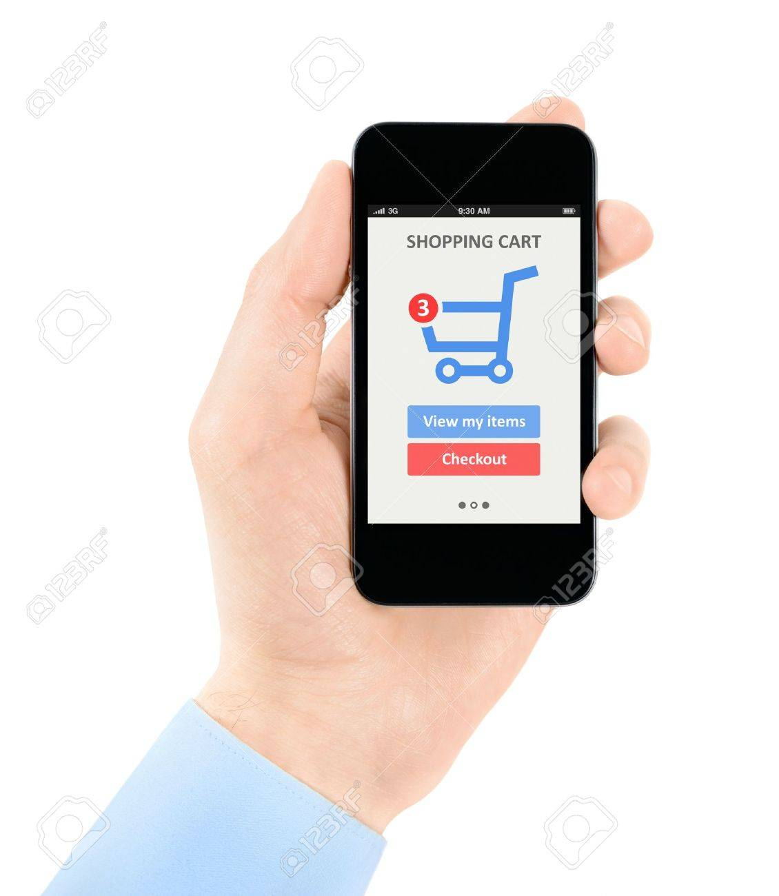 Mens hand holding modern mobile phone with online shopping application on a screen  Isolated on white background Stock Photo - 20849545