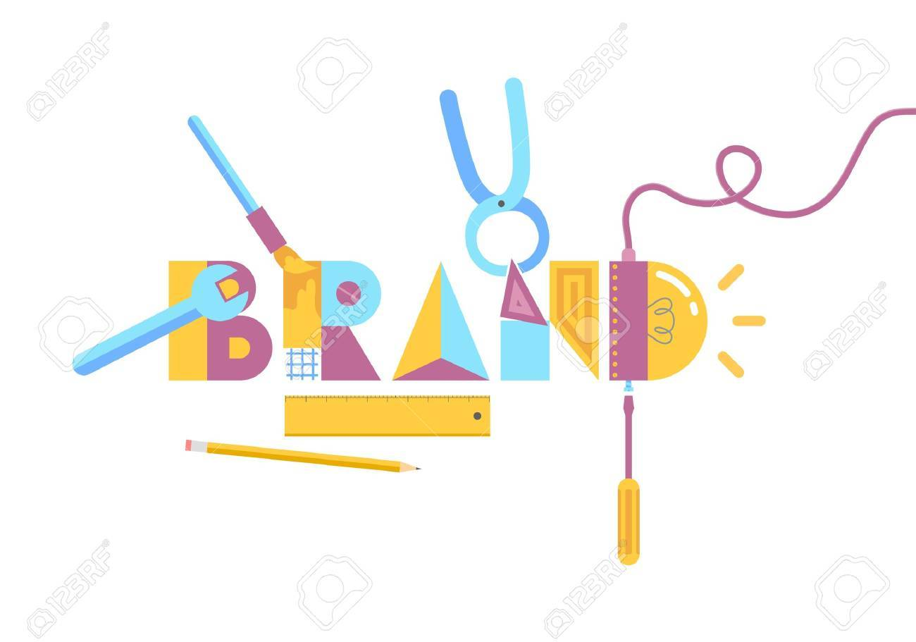 Vector illustration of brand construction concept  Isolated on white background Stock Vector - 20857098