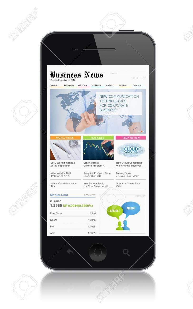 High quality illustration of modern mobile smartphone with business media website on a screen  Isolated on white background Stock Illustration - 21090422