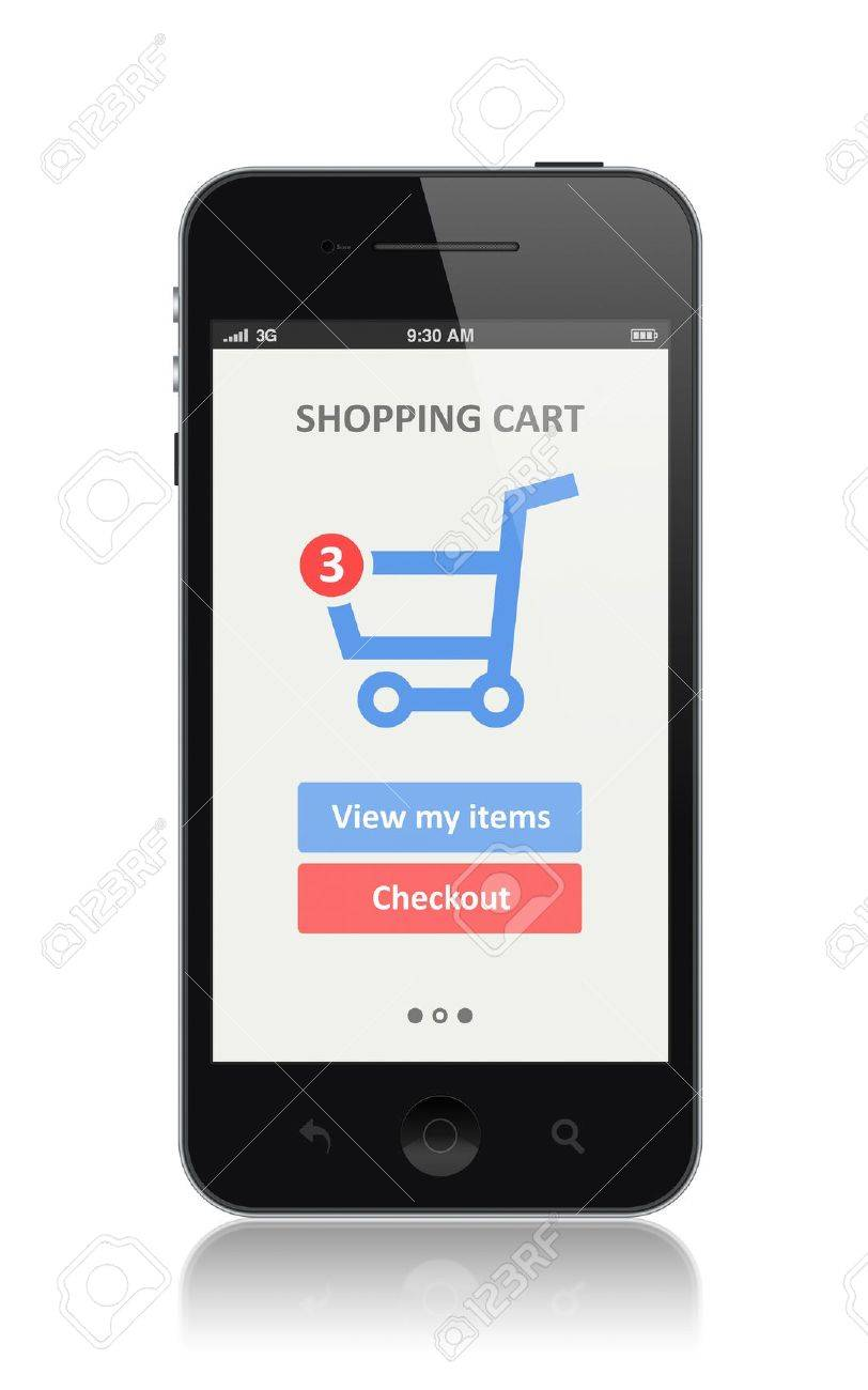 High quality illustration of modern smartphone with shopping cart icon on a screen  Isolated on white background Stock Illustration - 21090426