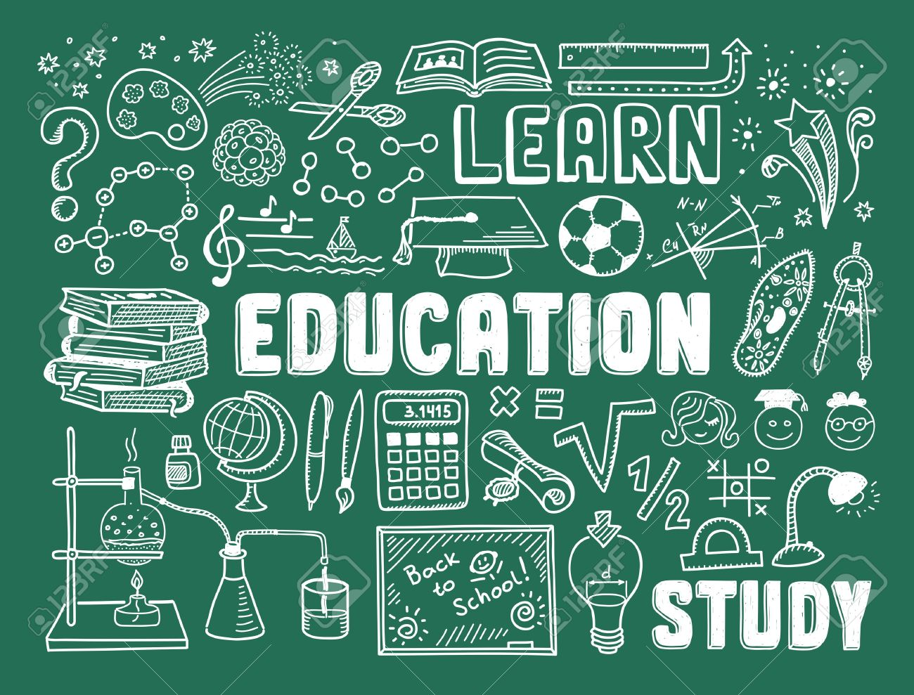 Hand drawn vector illustration set of education and learning doodles with school objects and items Isolated on green background - 21370167