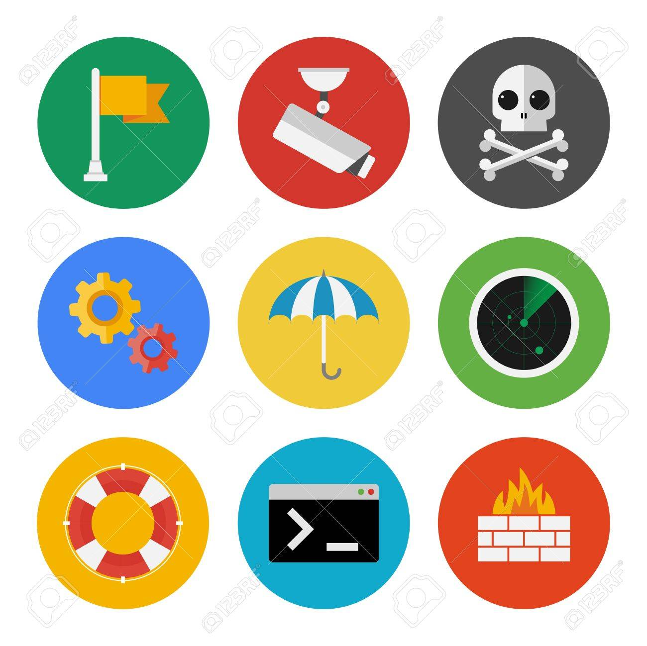 Vector collection of colorful icons in modern flat design style on internet security theme  Isolated on white background Stock Vector - 21376080