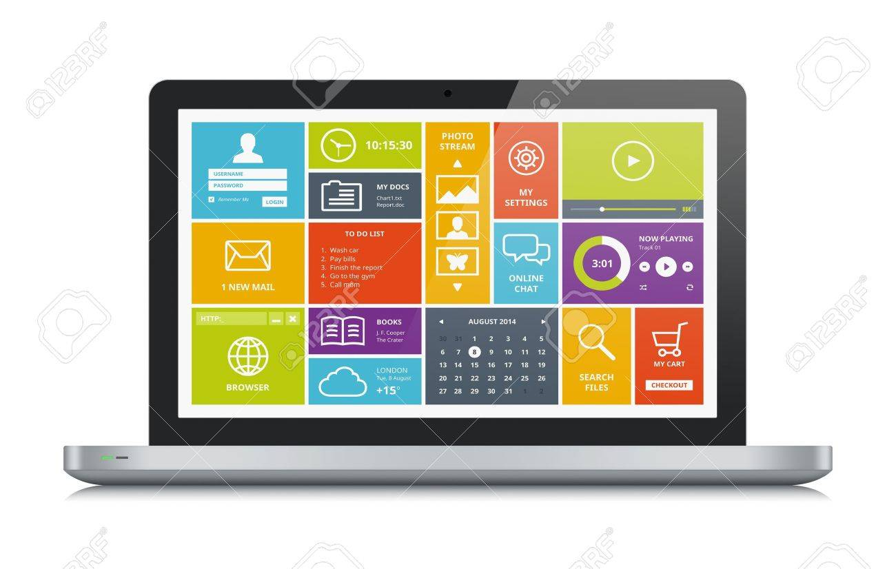 High quality illustration of modern metallic laptop with stylish modern colorful user interface on a screen  Isolated on white background Stock Illustration - 21691597