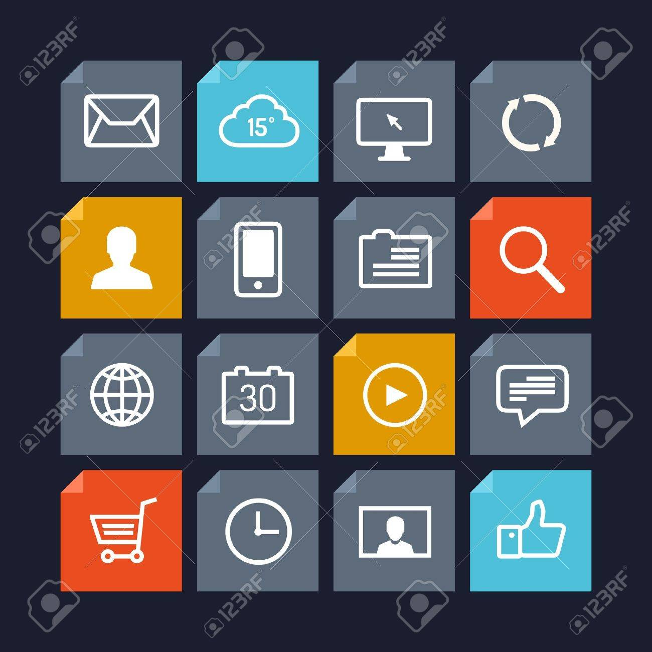 Flat design vector icons of various user interface elements and application symbols in modern metro style design  Isolated on dark background Stock Vector - 21691799