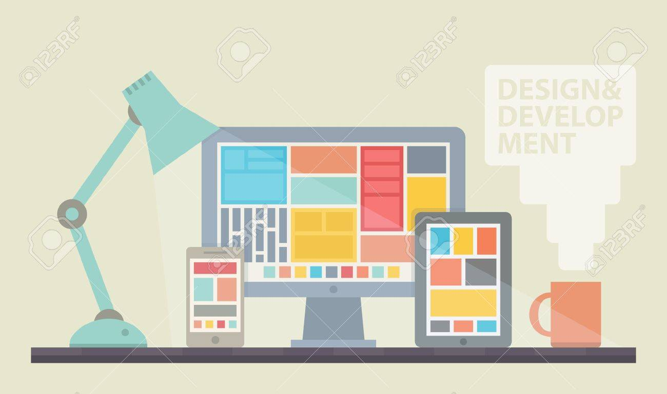 Flat design vector illustration of mobile and desktop website design development process with minimalistic modern digital tablet, desktop computer and smartphone on a designer workplace in stylish color  Isolated on beige background Stock Vector - 21691800