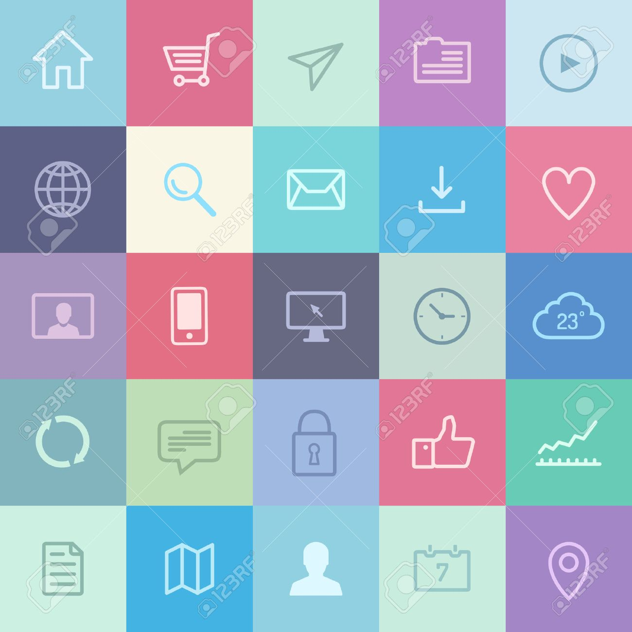Flat design icons of various