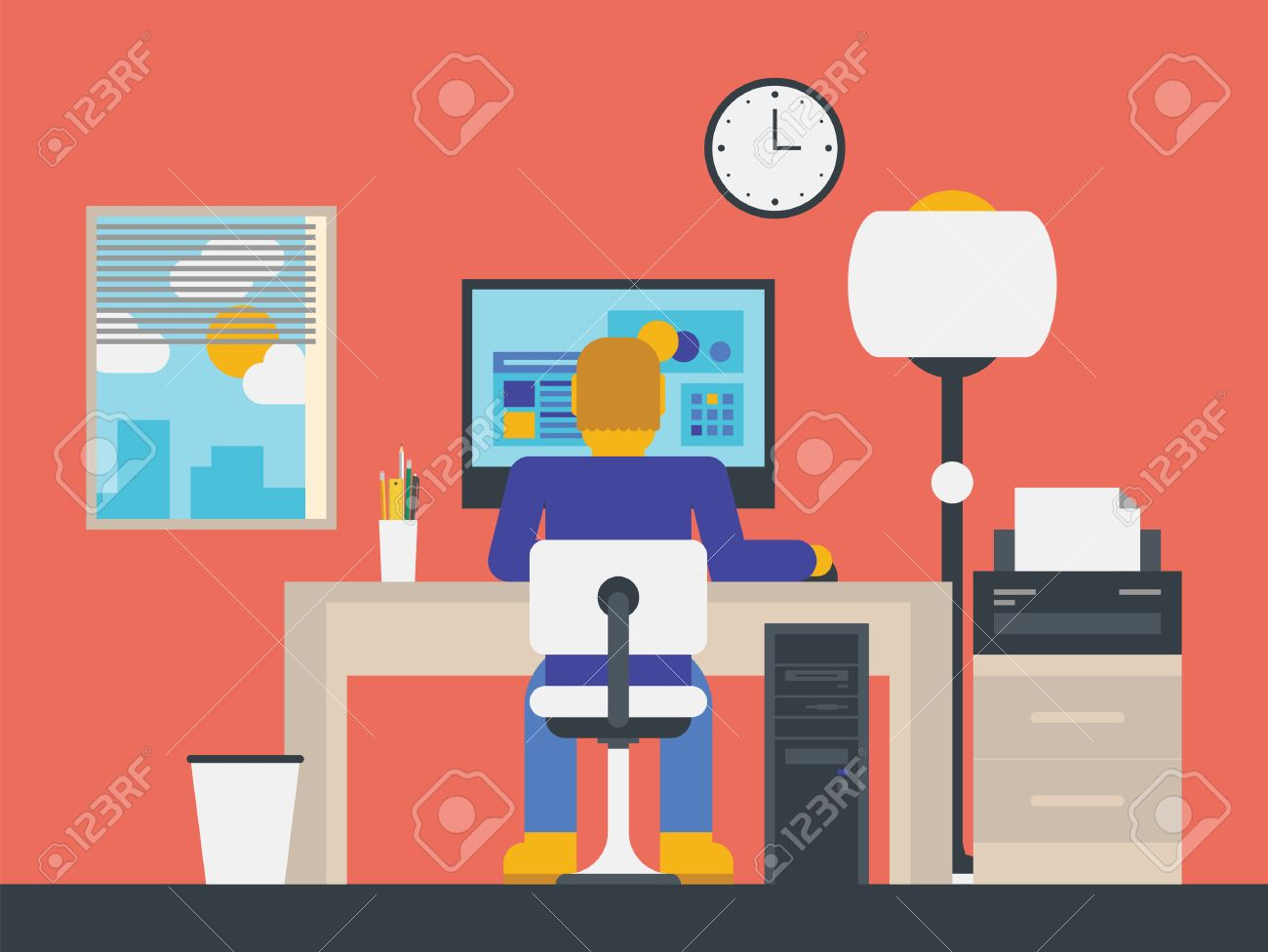 Flat Design Stylish Illustration Of Manager Working With Computer ...