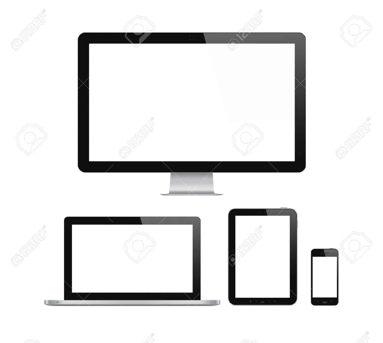 High quality illustration set of modern computer monitor, laptop, digital tablet and mobile phone with blank screen. Isolated on white background. Stock Illustration - 22736800