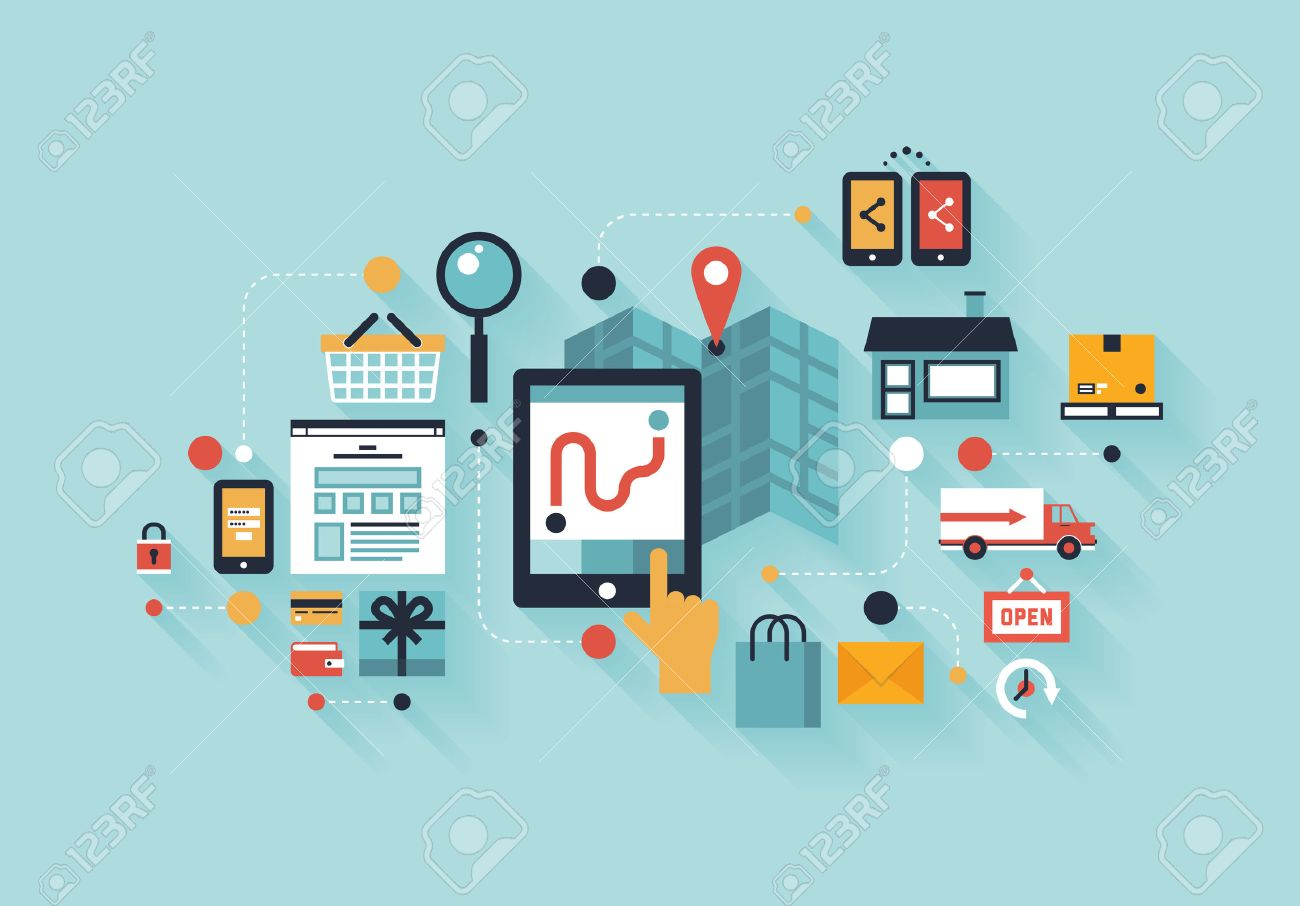 Flat design modern vector illustration infographic concept of purchasing  product via internet, mobile shopping communication and delivery service  Isolated on colored stylish Stock Vector - 22900949