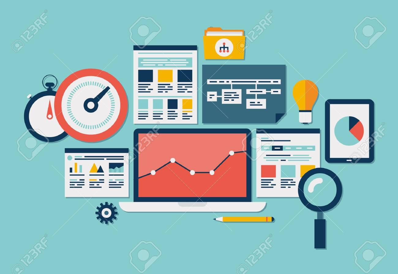 Flat design vector illustration icons set of website SEO optimization, programming process and web analytics elements Isolated on turquoise - 22900976
