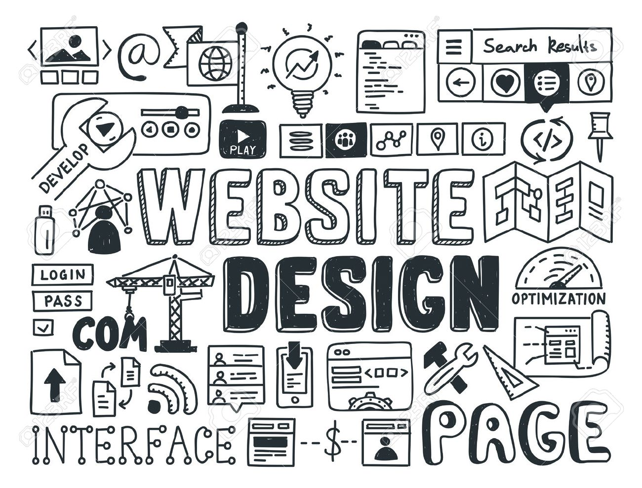 Hand Drawn Vector Illustration Icons Set Of Website Design And ...