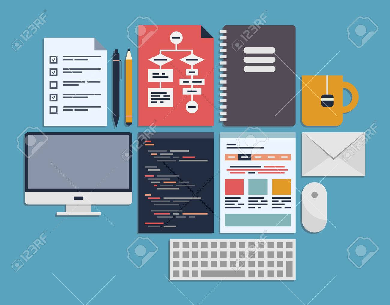 Flat design vector illustration icons set of web page programming, user interface elements and workflow objects Isolated on blue - 22900979