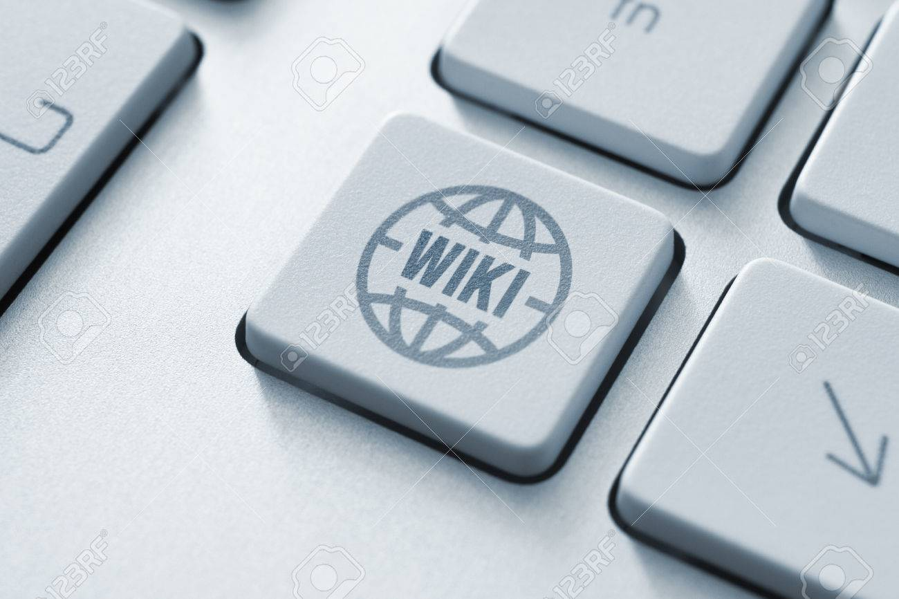 Computer button on a keyboard with wiki encyclopedia icon symbol Stock Photo - 23864935