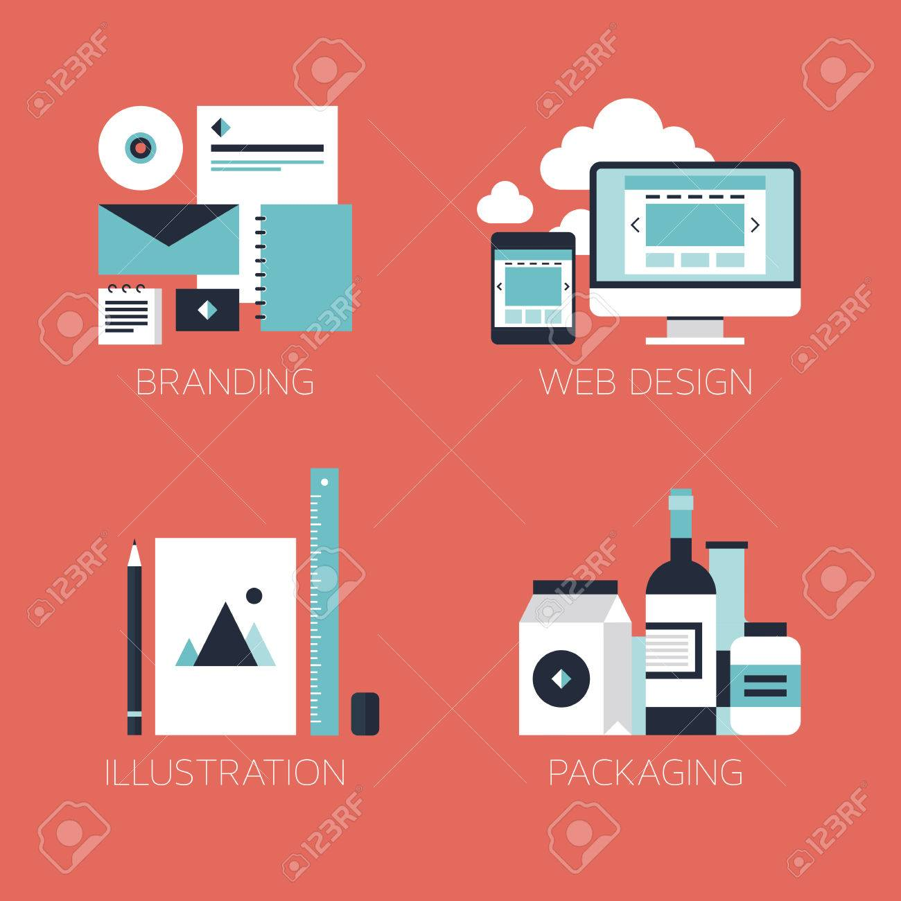 Flat design modern vector illustration icons set of brand identity style, web and mobile design, illustration objects and packaging design for company branding Isolated on stylish red background - 23864939